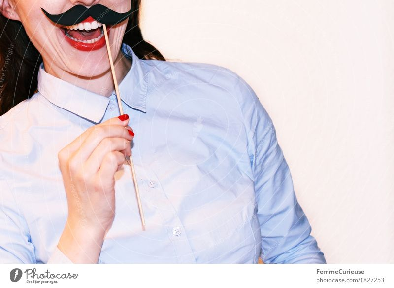 Mustache_1827253 Feminine Young woman Youth (Young adults) Woman Adults Human being 18 - 30 years Joy Creativity Home-made Paper Cardboard Impaled To hold on