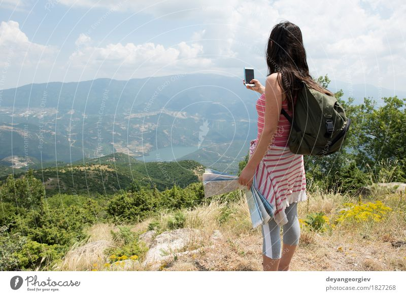 Woman taking pictures with smartphone Human being Woman Sky Nature Vacation & Travel Summer Beautiful Landscape Girl Adults Lifestyle Tourism Vantage point Photography Illustration Telephone