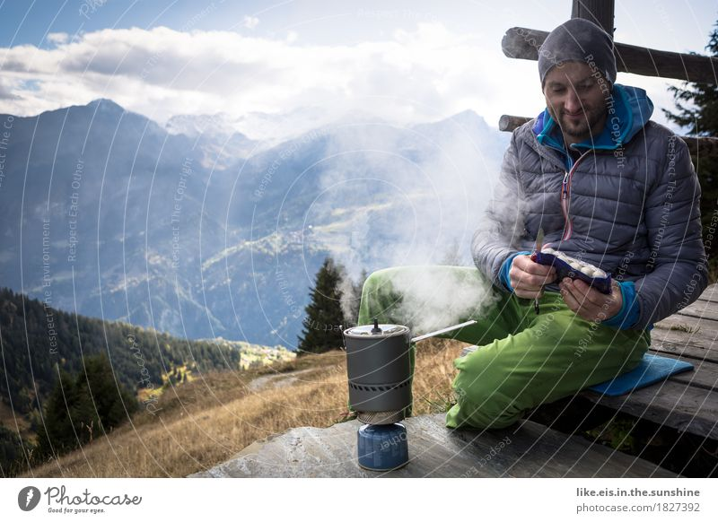 White sausage breakfast with view II Sausage Nutrition Well-being Contentment Relaxation Trip Adventure Far-off places Freedom Camping Mountain Hiking Climbing