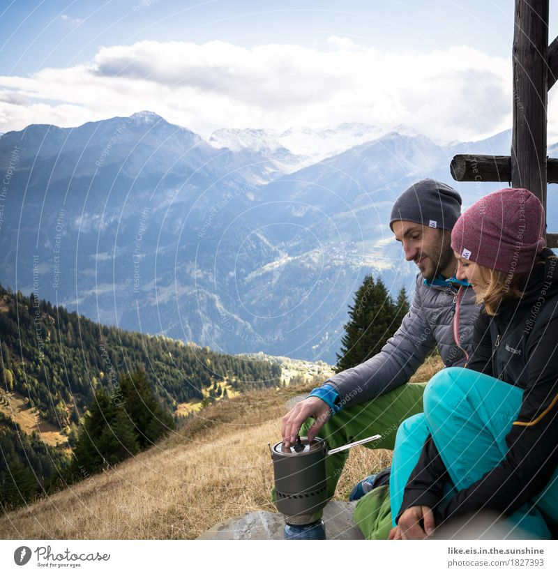 Human being Woman Nature Vacation & Travel Man Relaxation Calm Mountain Adults Life Autumn Feminine Freedom Couple Friendship Masculine