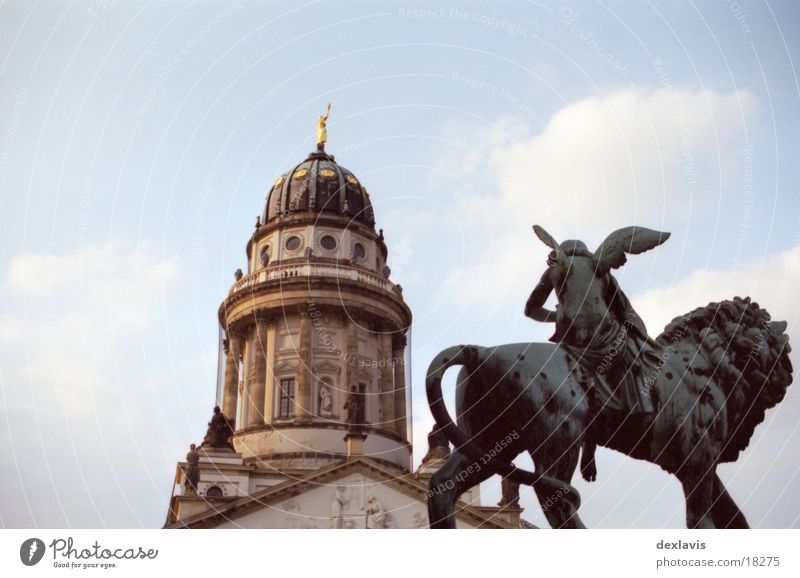 Gendarmenmarkt II French Church of Friedrichstadt Sculpture Lion Domed roof Looking Architecture Berlin Angel Religion and faith