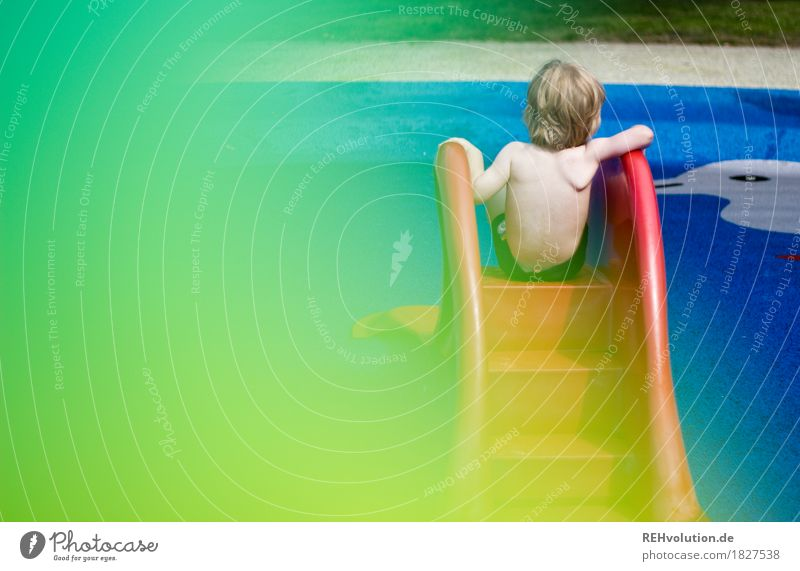 A summer picture Leisure and hobbies Playing Swimming & Bathing Swimming pool Human being Masculine Child Toddler Boy (child) Back 1 1 - 3 years Sun Sunlight
