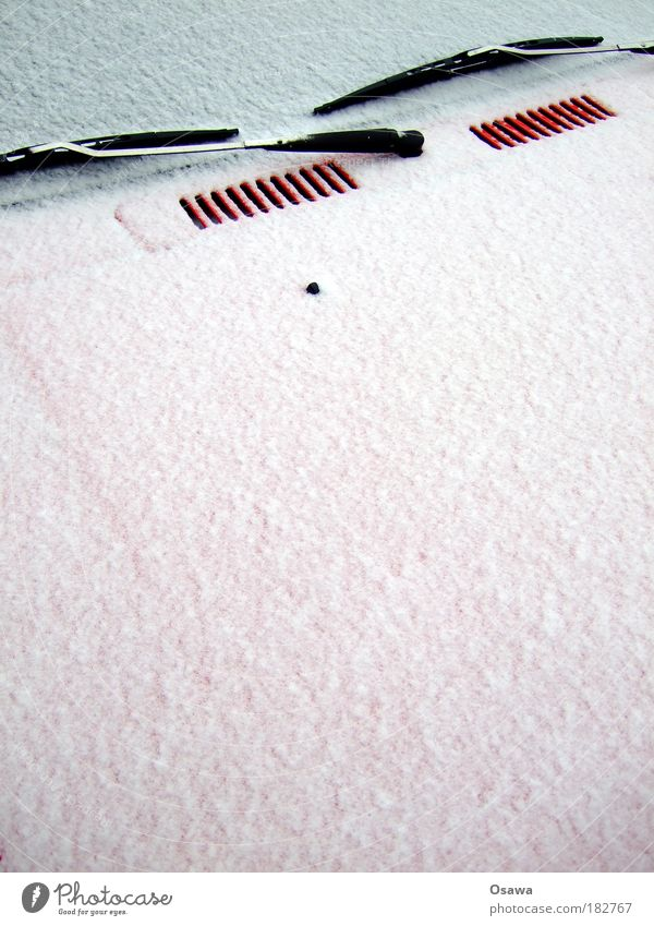 Text space with windscreen wipers Car Winter Snow Windscreen Windscreen wiper Car Hood Red White Gray Portrait format clear vision scratch ice Hoar frost Cold