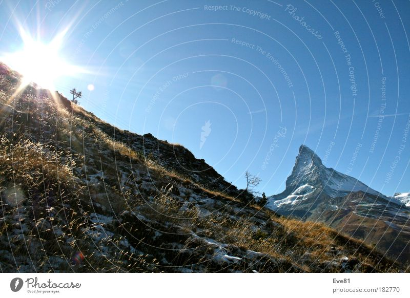 Nature Tree Sun Vacation & Travel Autumn Mountain Freedom Landscape Trip Tourism Beautiful weather Harmonious Sharp-edged Gigantic Switzerland Matterhorn