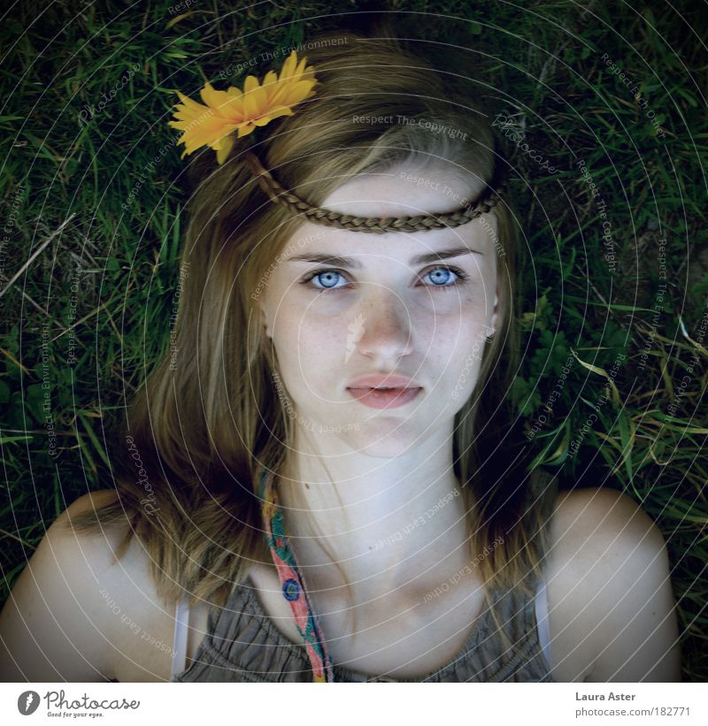 gipsygirl Human being Feminine Young woman Youth (Young adults) 1 18 - 30 years Adults Blonde Lie Looking Moody Hope Belief Beautiful Hippie Colour photo
