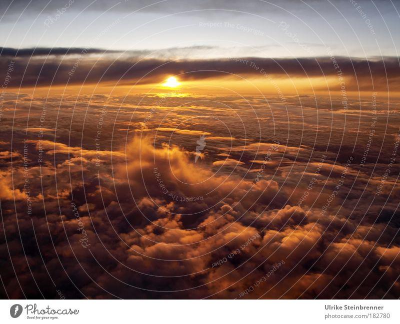 Sky Nature Calm Clouds Warmth Sunrise Lighting Flying Horizon Glittering Orange Aviation Gold Stars Soft Sunset