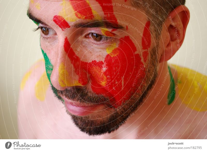 hand painted portrait Face Facial hair 30 - 45 years Bodypainting Black-haired Beard Colour Creativity Senses Trust Detail Abstract Front view Looking away Calm