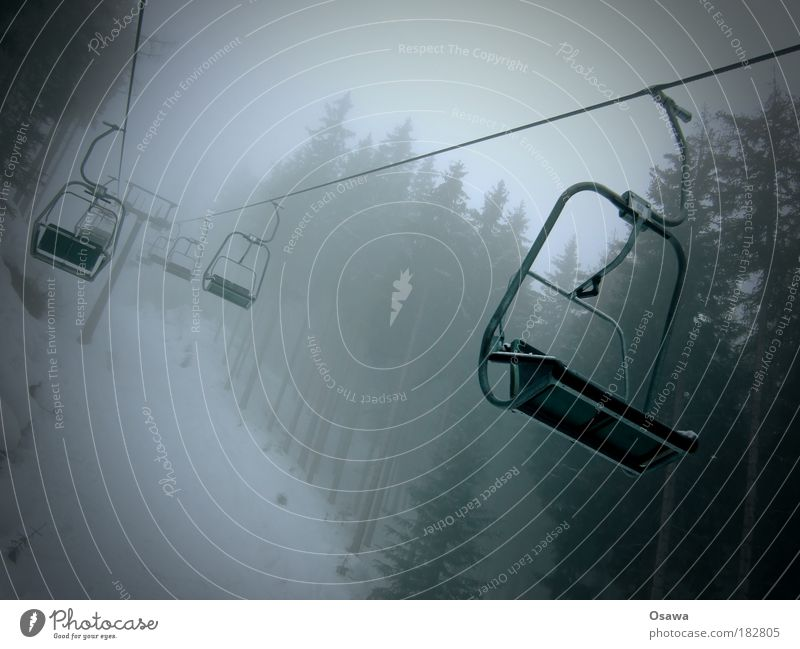 Chairlift in the fog Chair lift Cable car Passenger traffic Transport Rope Armchair Forest Fog Rain Snow Clouds Haze Gray Monochrome Gloomy tree Mountain Alps