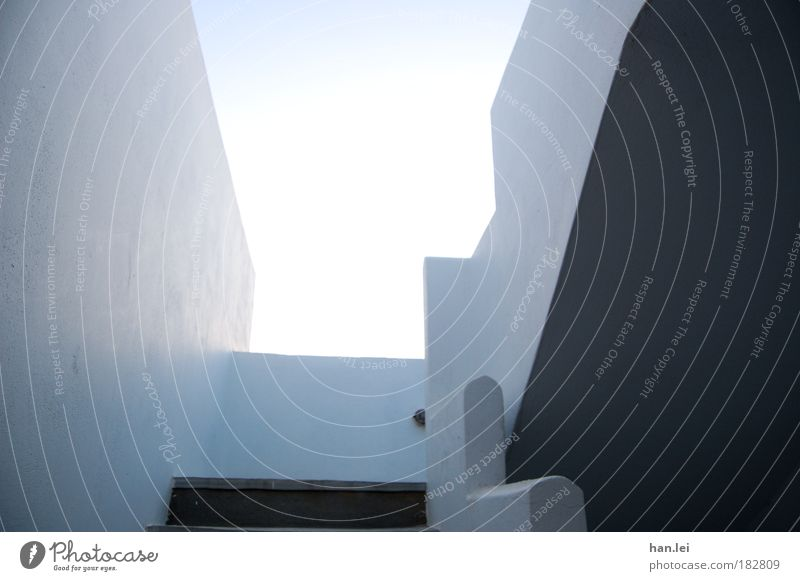 White Blue Summer Vacation & Travel Calm House (Residential Structure) Wall (building) Stone Architecture Stairs Roof Living or residing Interior design Serene
