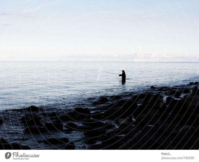 Human being Sky Nature Man Blue Water Vacation & Travel Ocean Beach Calm Adults Coast Gray Horizon Leisure and hobbies Wait