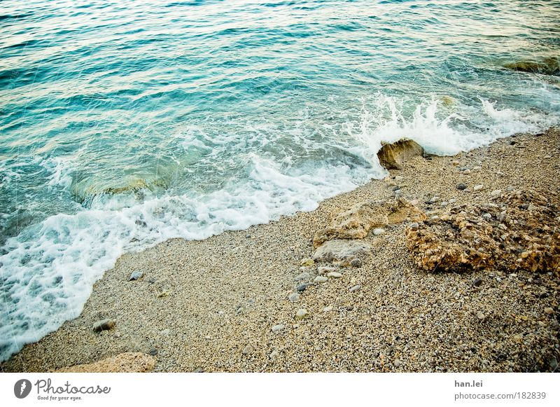 Nature Water Ocean Blue Beach Vacation & Travel Relaxation Sand Brown Power Waves Coast Glittering Wind Drops of water Rock