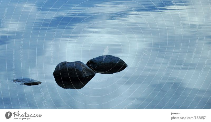 Stones in water Colour photo Exterior shot Copy Space top Silhouette Water Clouds Lakeside Blue Gray Day