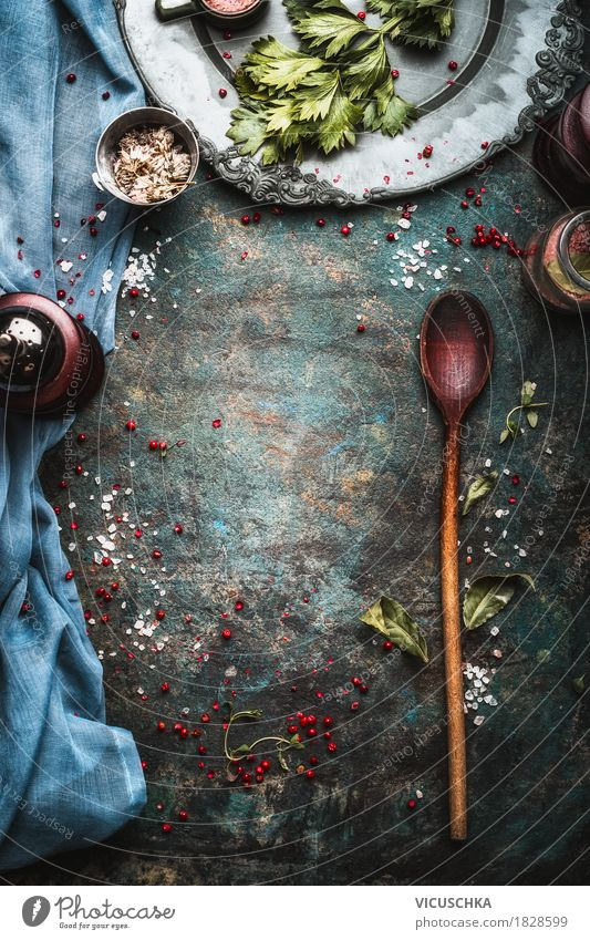 Healthy Eating Dark Food photograph Background picture Style Design Nutrition Table Herbs and spices Kitchen Restaurant Crockery Plate Banquet Spoon