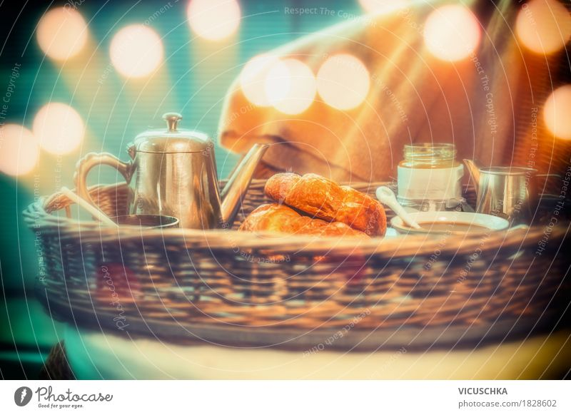 Breakfast with coffee and croissants Food Croissant Nutrition Beverage Hot drink Hot Chocolate Coffee Crockery Cup Lifestyle Style Design Living or residing