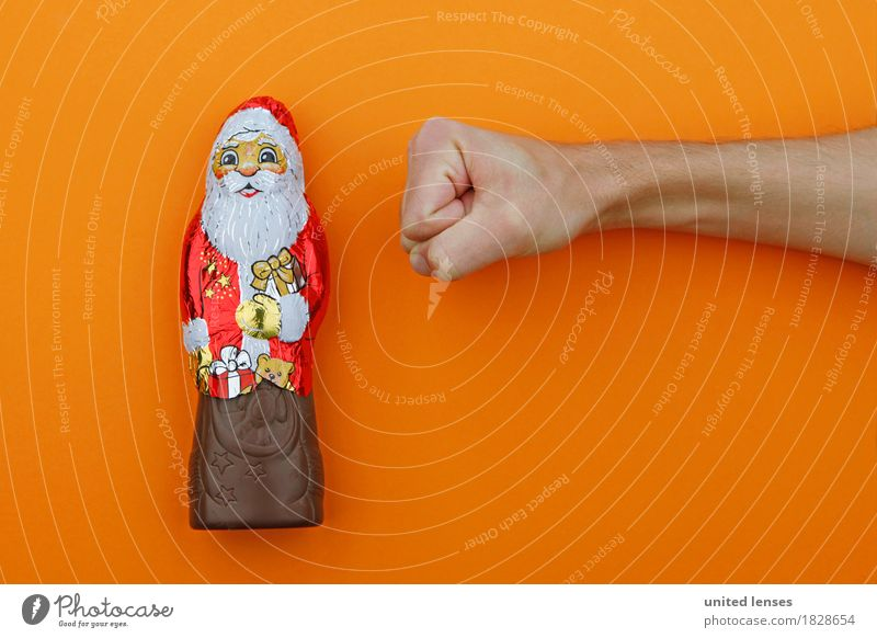 AKDR# Christmas muffle Art Work of art Esthetic Christmas & Advent Santa Claus Orange Chocolate Broken chocolate Consumption Shopaholic Anticipation Fist Force