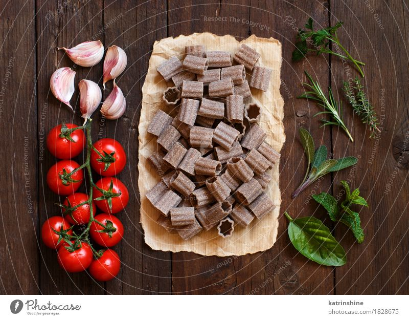 Whole wheat pasta, vegetables and herbs Vegetable Dough Baked goods Herbs and spices Vegetarian diet Diet Italian Food Table Leaf Dark Fresh Brown Green Red