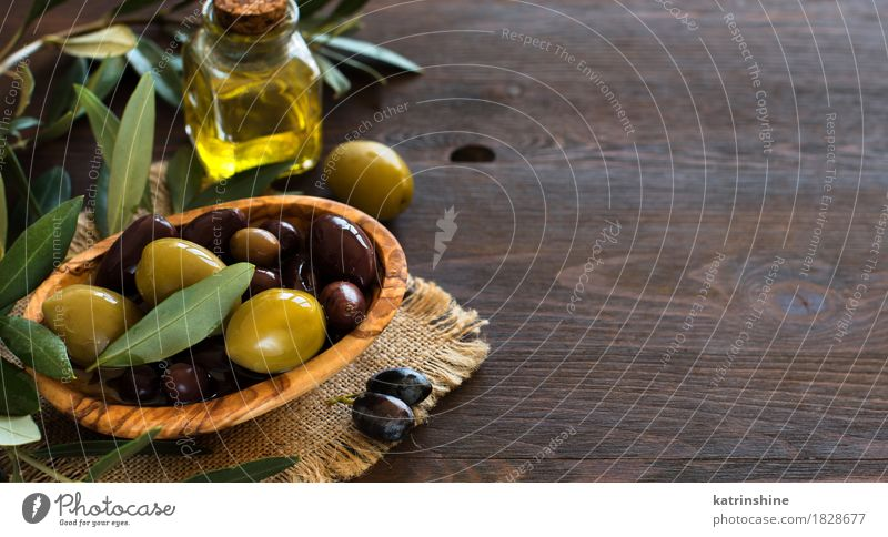 Olive Oil And Olives Green Dark Yellow Healthy Brown Vegetable Harvest Bowl Bottle Diet Cooking
