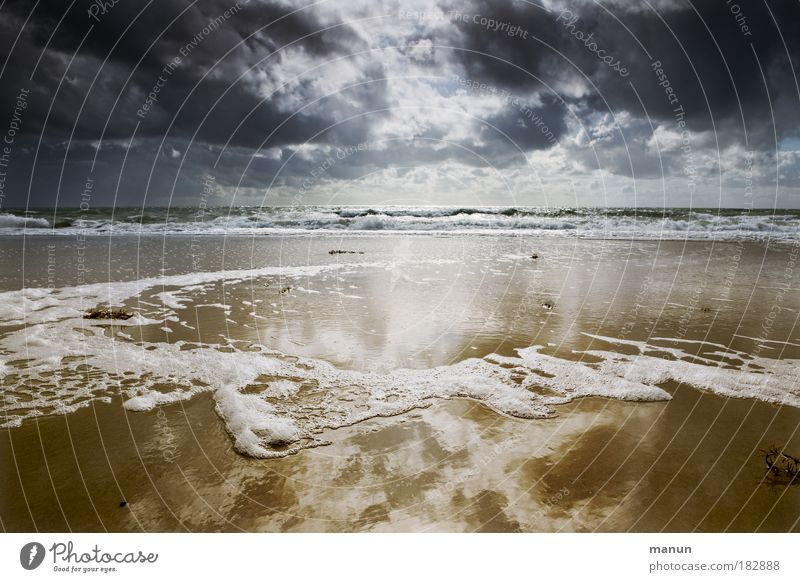 Nature Water Summer Beach Ocean Vacation & Travel Clouds Calm Far-off places Relaxation Dark Autumn Landscape Sand Sadness Coast