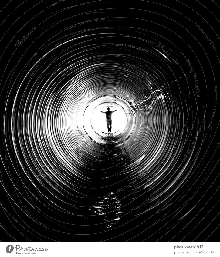target Man Loneliness Adults Death Human being Shadow End Light Pipe Tunnel Pipeline Black & white photo Tunnel vision Pearly Gates