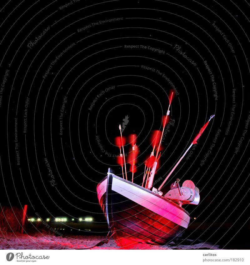 lightship Fish Seafood Beach Island Fisherman Fishery Fishing boat Night sky Stars Wind Coast Baltic Sea Flag Dark Red Black Esthetic Freedom Cold