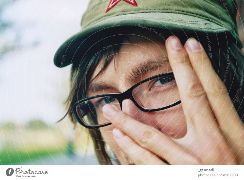 Human being Man Youth (Young adults) Hand Adults Face Eyes Head Hair and hairstyles Perspective Skin Portrait photograph Masculine Fingers Happiness Eyeglasses