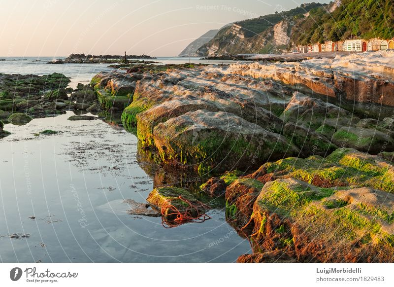 The passetto rocks at sunrise, Ancona, Italy Vacation & Travel Tourism Beach Ocean Nature Landscape Sky Horizon Beautiful weather Rock Coast Stone Colour ancona