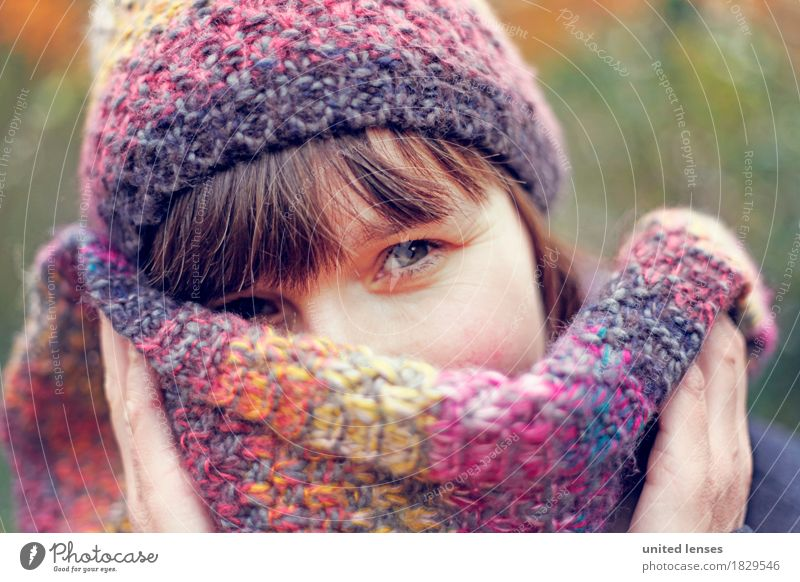 AKDR# Autumn weather III Art Esthetic Eyes Looking Timidity Cap Scarf Face Facial expression Detail of face Facial colour Woman Young woman Hand Cold Winter
