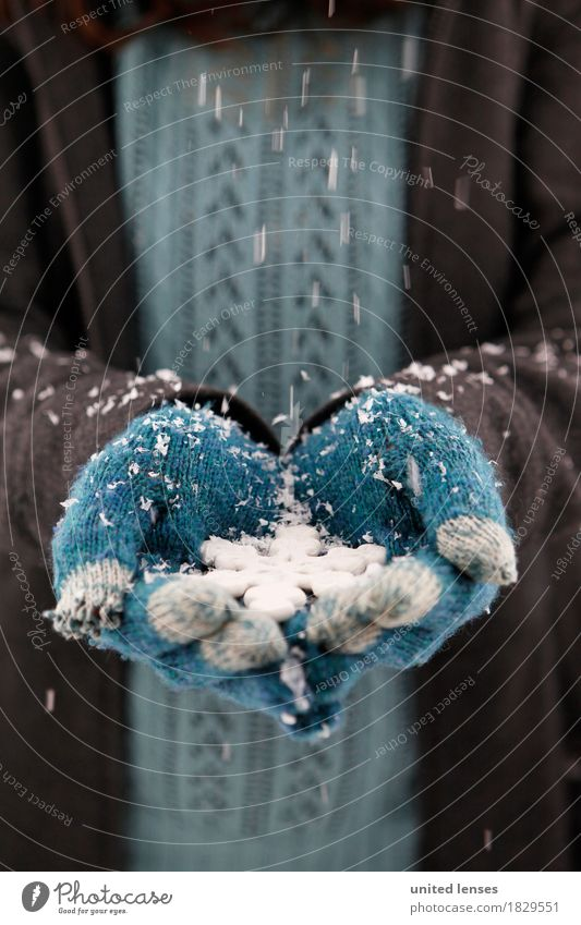 AKCGDR# Snow outside II Art Work of art Esthetic Gloves Blue Winter Winter coat Winter vacation Winter mood Winter festival Winter's day Snowfall Snowflake