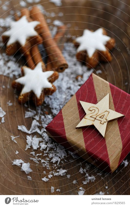 Christmas & Advent Wood Art Decoration Esthetic Gift Card Anticipation Wooden table Work of art December Cinnamon 24 Star cinnamon biscuit