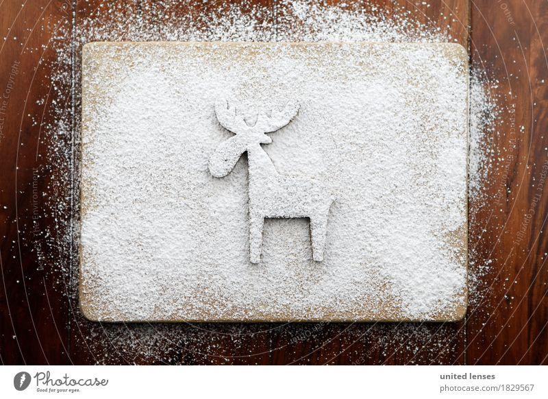 AKCGDR# Reindeer track Art Esthetic Figure Christmas & Advent Decoration Confectioner`s sugar Wooden board Kitchen Artificial snow Creativity Colour photo