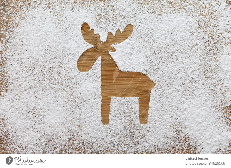 AKCGDR# Animal track in the snow Art Work of art Esthetic Snow Artificial snow Decoration Confectioner`s sugar Reindeer Wood Wooden board Antlers