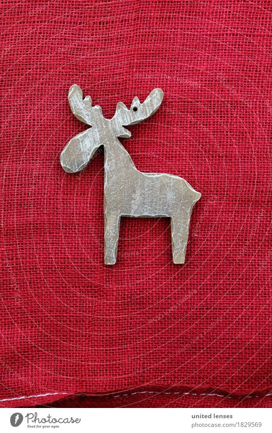 AKCGDR# Look at a reindeer! Art Work of art Esthetic Reindeer Christmas & Advent Red Decoration Structures and shapes wooden jewellery Antlers Card December