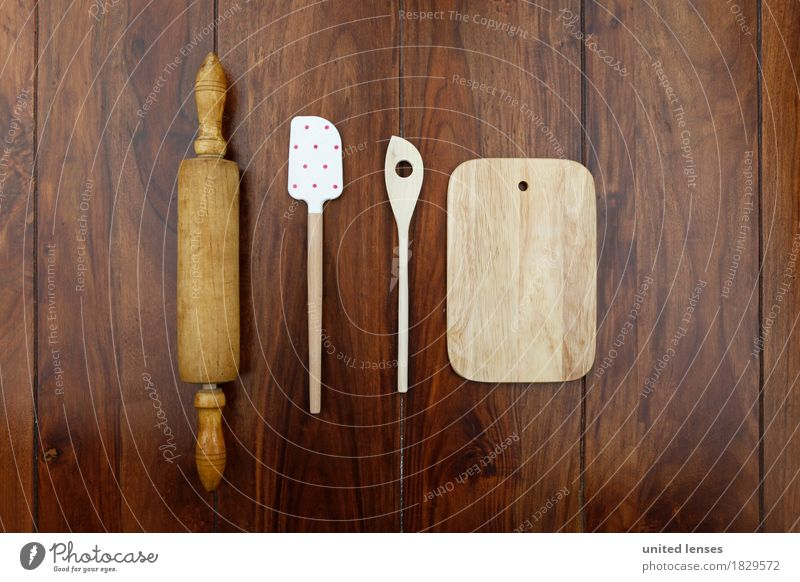 AKCGDR# Wood in front of the kitchen Lifestyle Kitchen Cooking Kitchen Table Kitchen equipment Rolling pin Spoon Wooden board Wooden table Arrangement