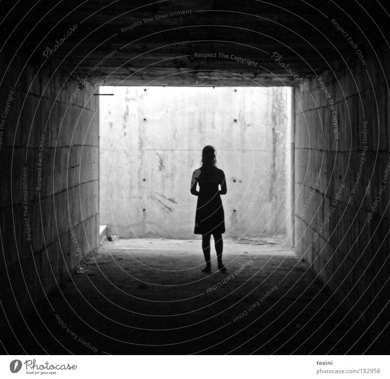 tunnel vision Black & white photo Contrast Silhouette Central perspective Full-length Human being Young woman Youth (Young adults) Woman Adults Dirty Dark