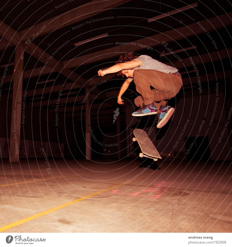 Pop Shove-it Colour photo Interior shot Contrast Style Sports Sportsperson Skateboarding Young man Youth (Young adults) Man Adults Warehouse Movement Rotate