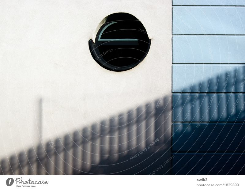 porthole Wall (barrier) Wall (building) Facade Window Concrete Glass Plastic Sharp-edged Simple Round Town Black White Design Light blue Porthole Shadow Fence