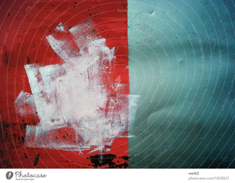 Oil on sheet Art Work of art Painting and drawing (object) Metal Glittering Trashy Crazy Wild Blue Red Turquoise White Dye Play of colours abstract art