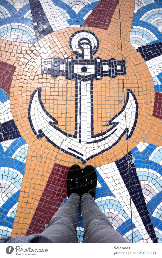 ahoy Trip Adventure Far-off places Freedom Ocean Legs Feet Navigation Cruise Anchor Compass (Navigation) Maritime Longing Wanderlust Vacation & Travel Mosaic