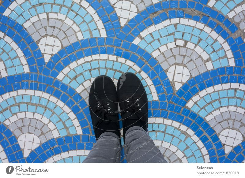 wave Swimming & Bathing Human being Legs Feet 1 Water Waves Footwear Stone Sign Ornament Line Stripe Creativity Mosaic Colour photo Exterior shot