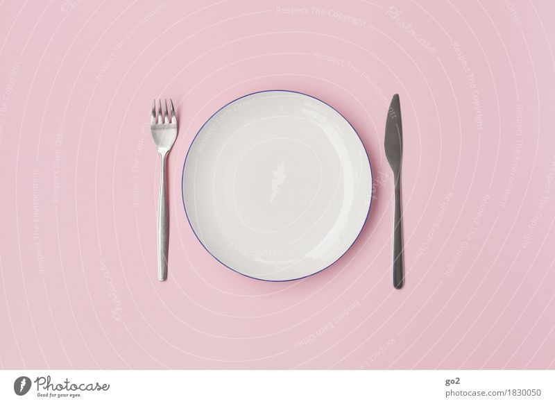 Empty plate Nutrition Eating Breakfast Lunch Dinner Diet Fasting Crockery Plate Cutlery Knives Fork Kitchen Cook Esthetic Round Pink White Modest Refrain
