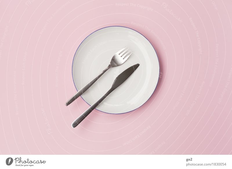 plate, fork, knife Nutrition Lunch Dinner Diet Crockery Plate Cutlery Knives Fork Esthetic Simple Round Pink White Modest Refrain Thrifty Colour photo