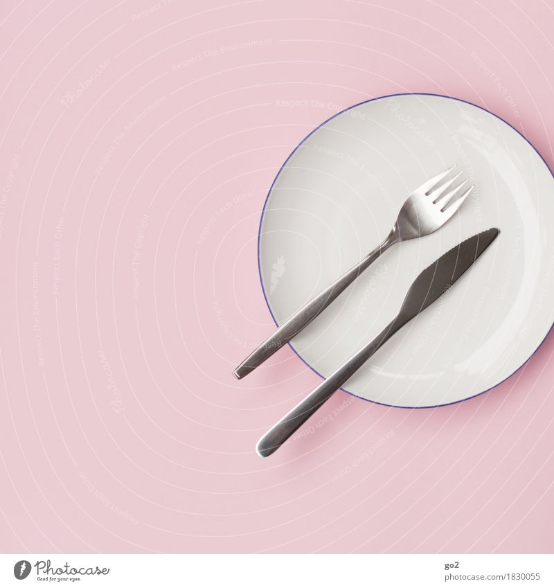 plate, fork, knife Nutrition Diet Fasting Crockery Plate Cutlery Knives Fork Esthetic Pink Silver White Thrifty Colour photo Interior shot Studio shot Close-up