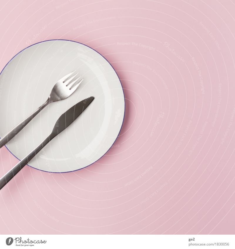 fork, knife, plate Food Nutrition Eating Breakfast Lunch Dinner Diet Fasting Crockery Plate Cutlery Knives Fork Kitchen Esthetic Simple Round Pink Silver White