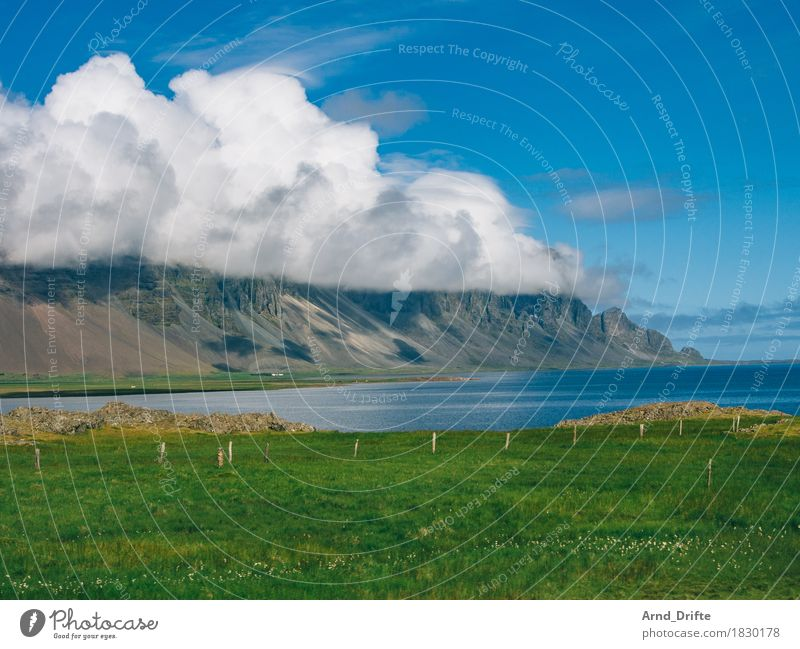 Iceland - Coast Vacation & Travel Tourism Trip Adventure Far-off places Freedom Mountain Nature Landscape Water Sky Clouds Spring Summer Weather