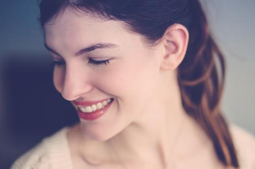 Just a smile. Human being Feminine Young woman Youth (Young adults) Adults Face Teeth 1 18 - 30 years Brunette Braids Smiling Laughter Beautiful Natural