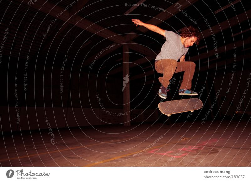 kickflip Interior shot Light Shadow Contrast Style Leisure and hobbies Sports Extreme Extreme sports Skateboard Skateboarding Young man Youth (Young adults) Man