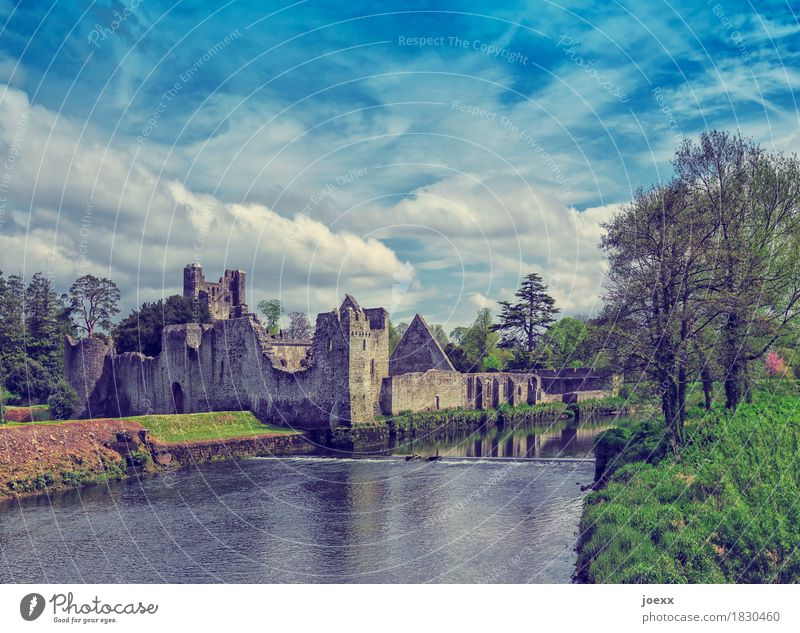 Adare Desmond Castle Tourism Sky River Ireland Ruin Wall (barrier) Wall (building) Tourist Attraction Monument Old Historic Blue Green Idyll Past Transience