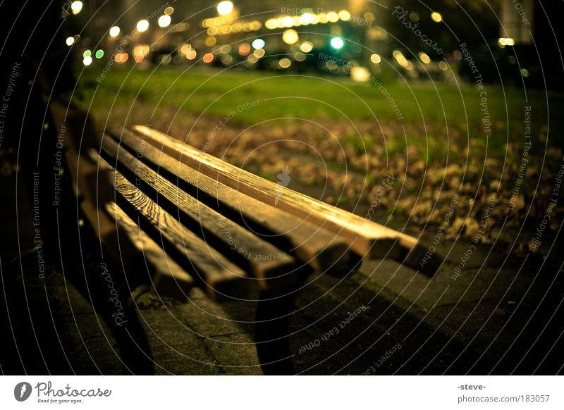 Green Leaf Dark Autumn Park Brown Gold Bench Autumn leaves Park bench