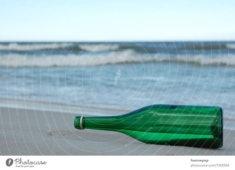 Ocean Green Beach Loneliness Sadness Wait Transience Bottle Packaging