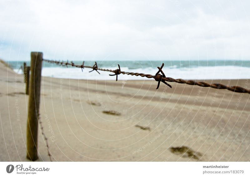 fence Exterior shot Deserted Copy Space top Copy Space bottom Day Twilight Contrast Sand Sky Clouds Beach Ocean Fence Barbed wire fence Cold photocase Footprint